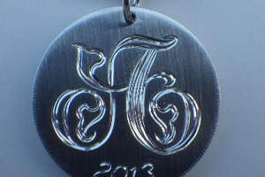 Sterling Silver Monogram Pendant / Hand Engraved