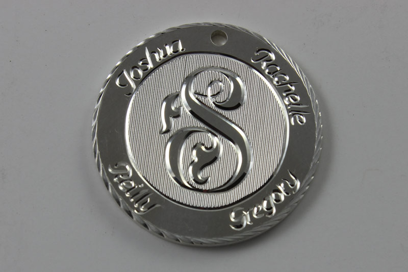 Family Pendant / Sterling Silver / Hand Engraved