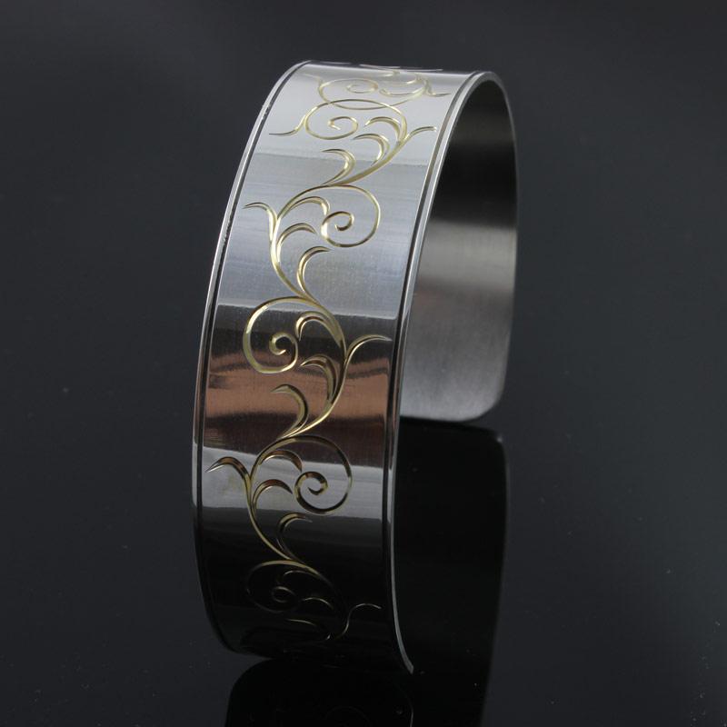 Flare Cut Bracelet / Sterling Silver / Hand Engraved