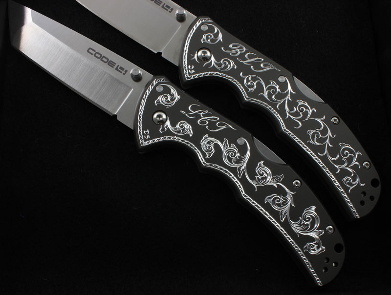Hand Engraved Pair of Cold Steel Knives