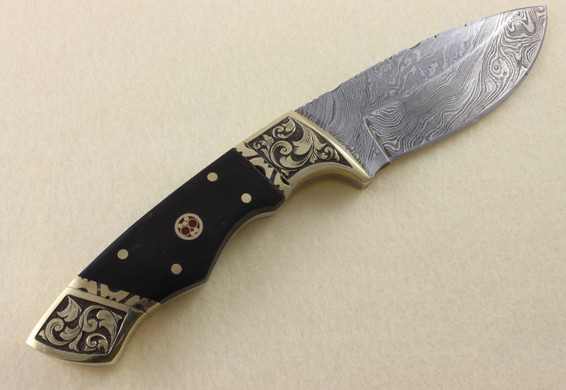 Hand Engraved Damascus Knife