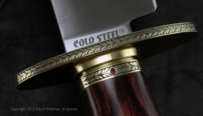 Hand engraved Cold Steel Natchez Bowie Knife