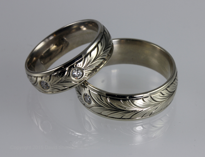 Hand Engraved Wedding Band Set