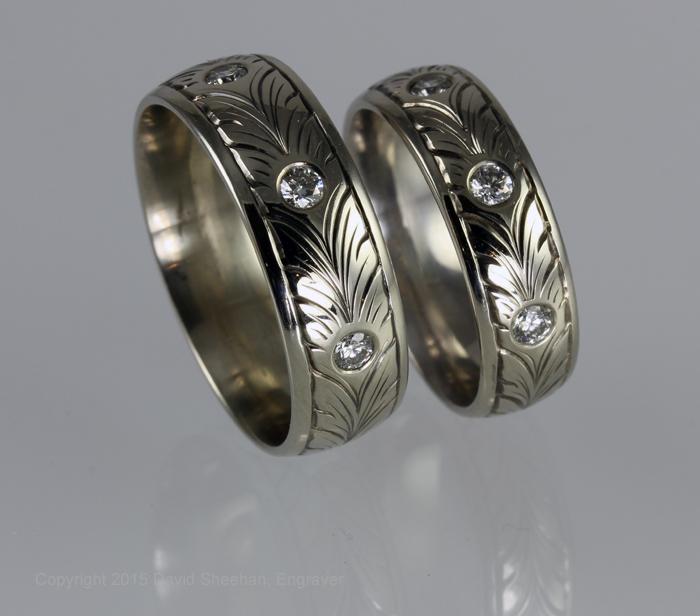 Hand Engraved Wedding Band Set