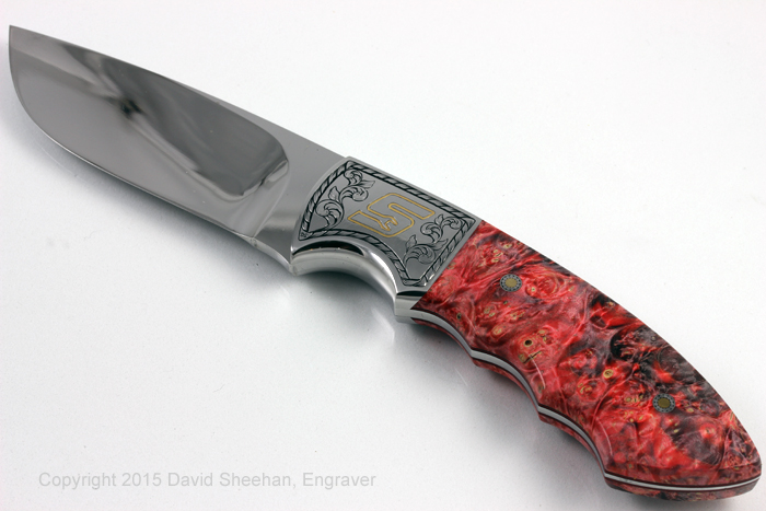 Hand Engraved Knife with Gold Inlay for SnapOn