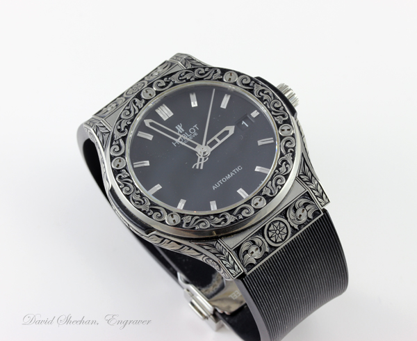 Engraved Swiss Watch
