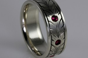 Hand Engraved Ruby Ring